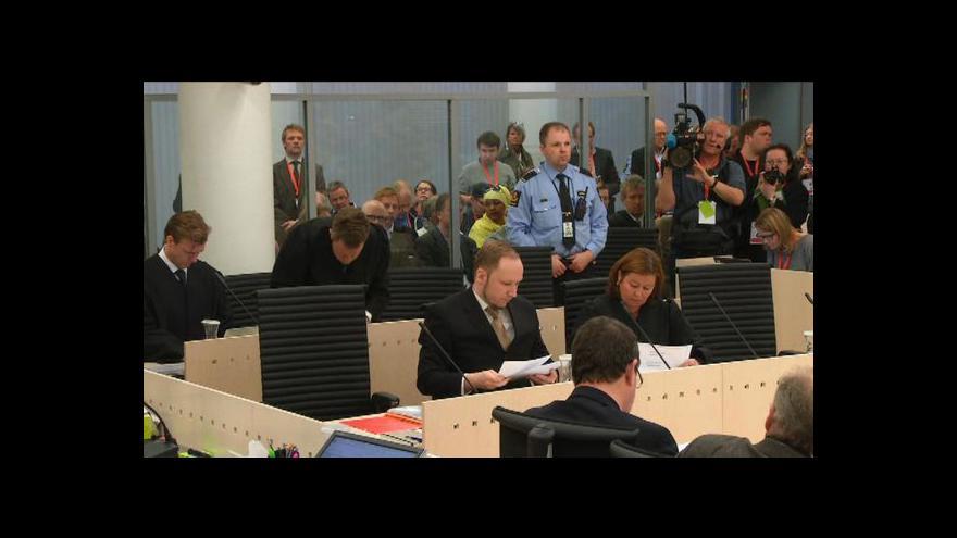 Video Breivik odmítl uznat soud