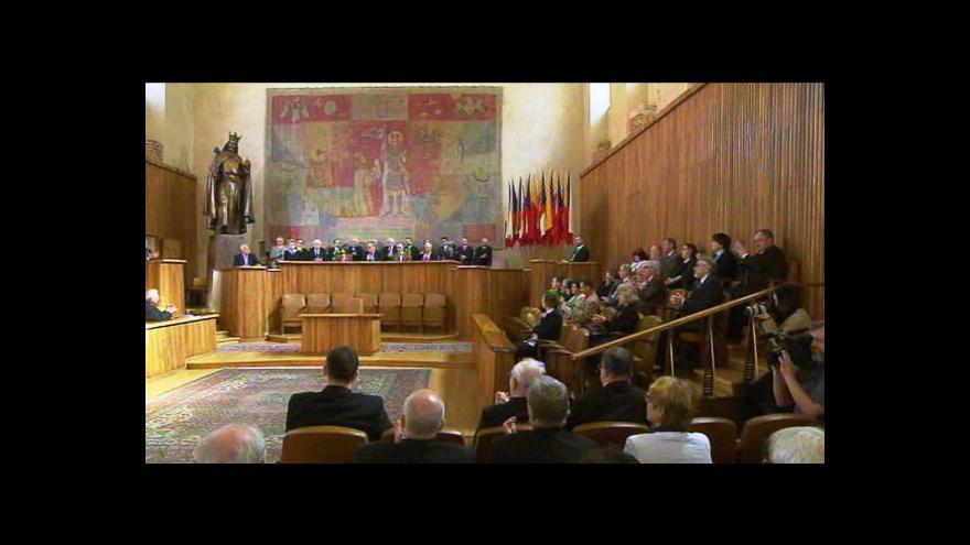 Video Proslov Václava Klause k výročí Jednoty matematiků a fyziků