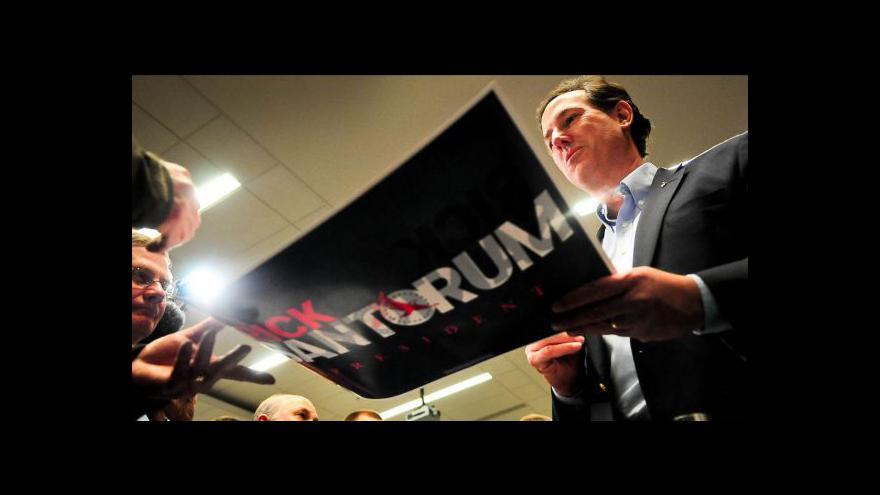 Video Santorum překvapivě vítězí v primárkách
