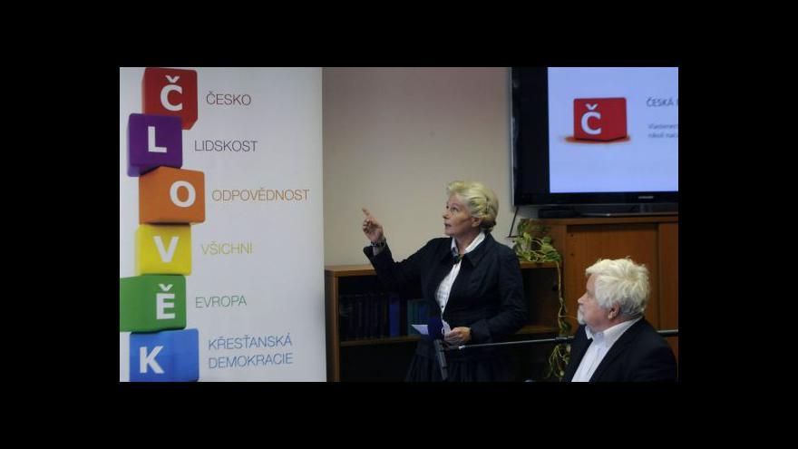 Video Brífink KDU-ČSL, na kterém oznámila Roithová kandidaturu