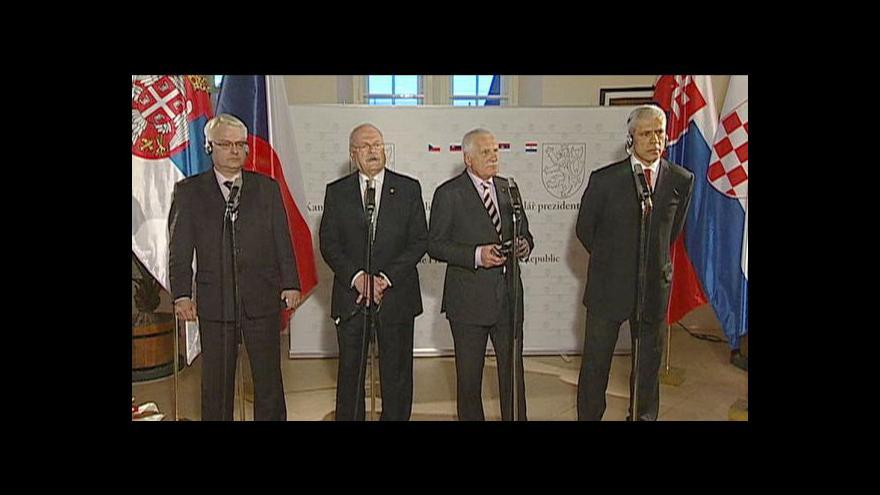 Video Brífink po setkání prezidentů ČR, SR, Chorvatska a Srbska