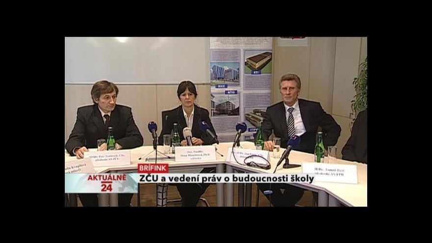 Video Brífink ZČU a vedení práv o budoucnosti školy