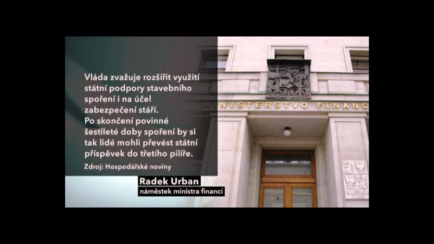 Video Nečas chce spojit stavební spoření s důchody