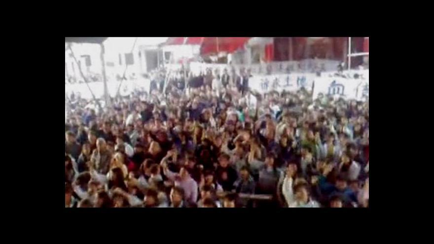 Video Protesty proti vyvlastnění půdy v Číně