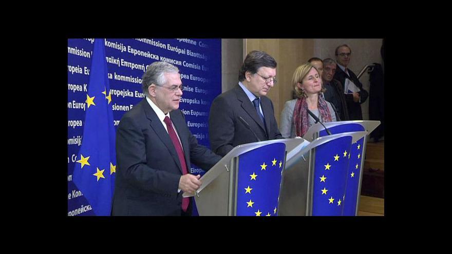 Video Brífink po setkání Barrosa s Papadimosem