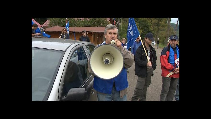 Video Protest slovenských odborářů na hranicích s Českem