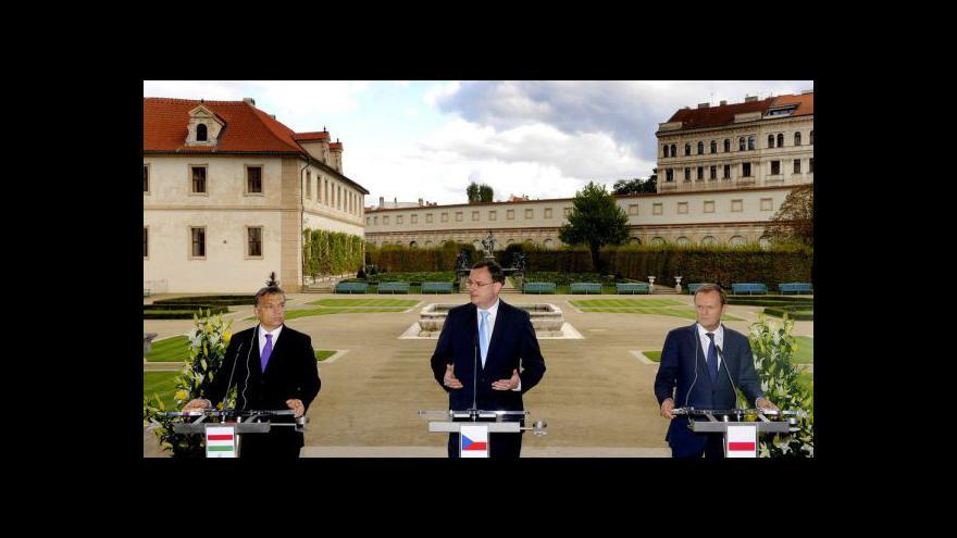 Video Brífink premiéra Nečase po setkání V4