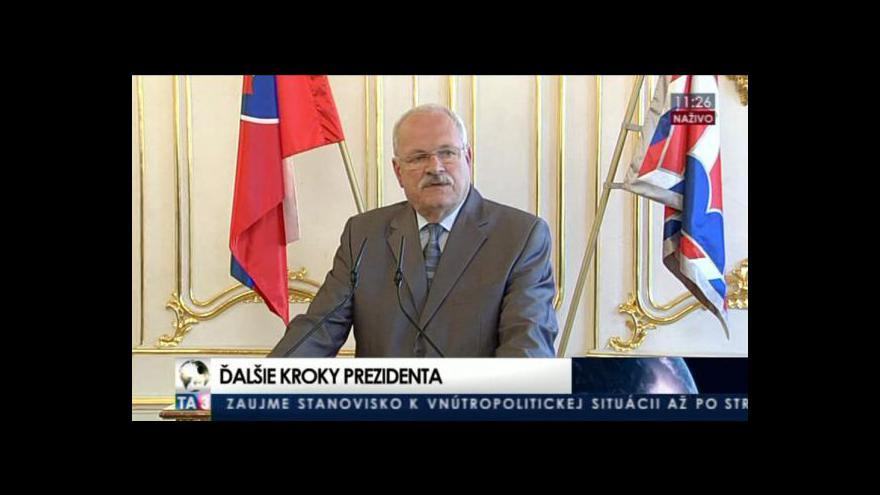Video Gašparovič přijal demisi vlády
