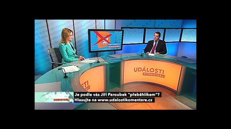 Video Jiří Paroubek, Jiří Dienstbier a Martina Lustigová v Událostech, komentářích