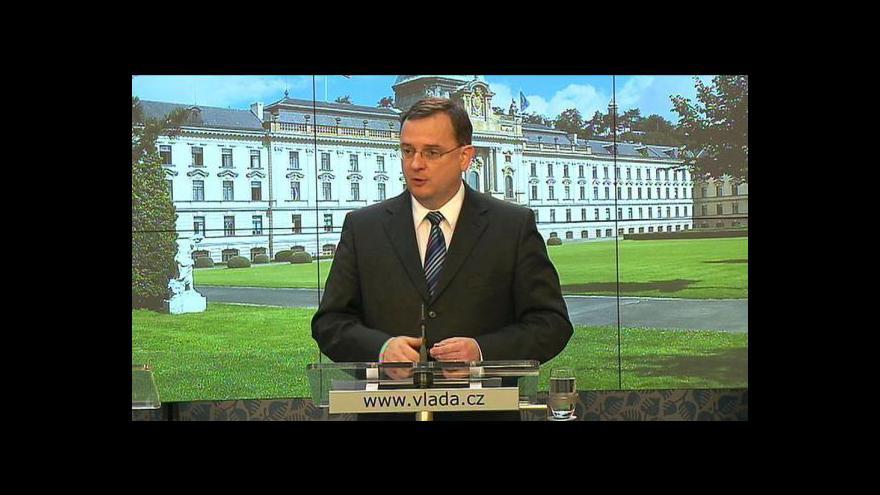 Video Brífink Petra Nečase po jednání vlády