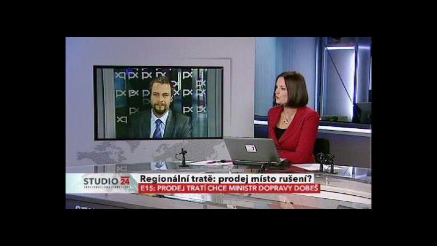 Video Studio ČT24 k možnému prodeji regionálních tratí