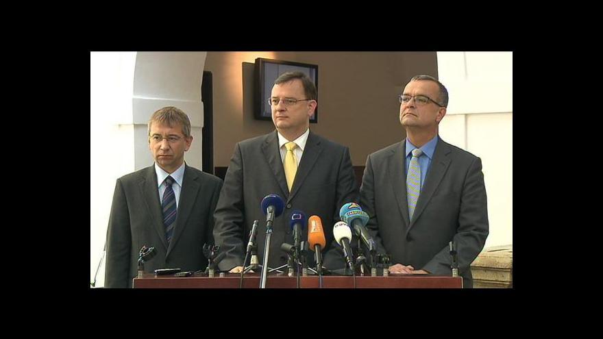 Video Brífink koalice po jednání sněmovny