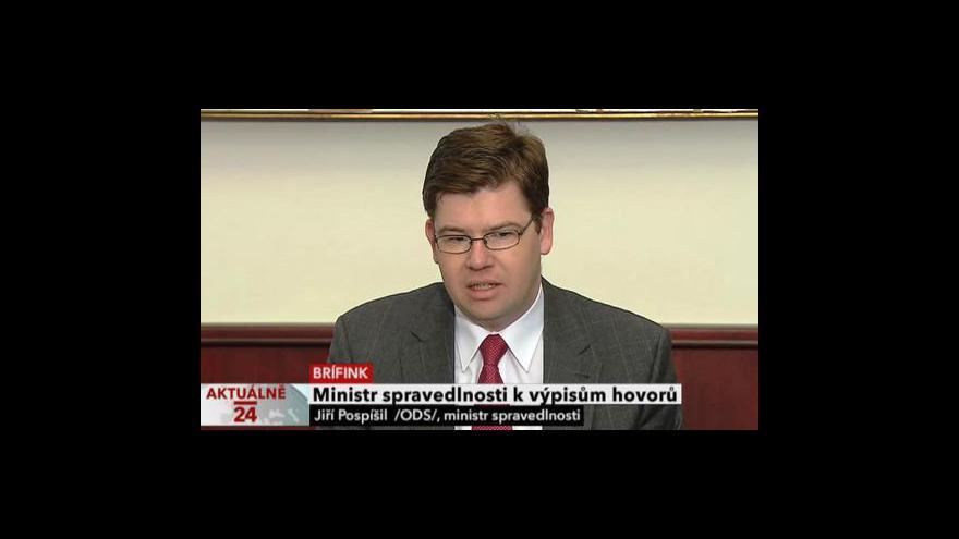 Video Brífink ministra spravedlnosti Jiřího Pospíšila