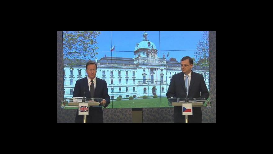 Video Brífink Davida Camerona a Petra Nečase