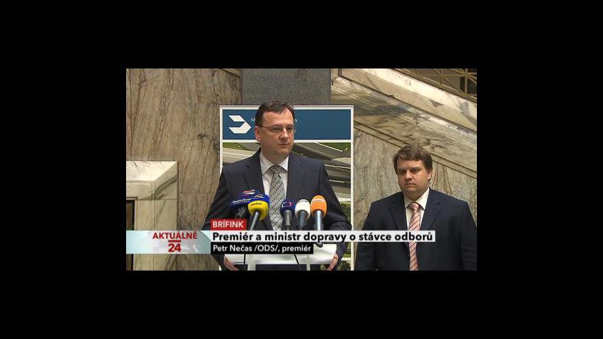 Video Brífink premiéra a ministra dopravy