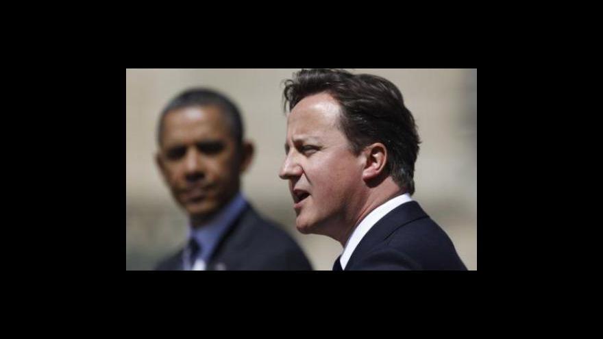 Video Obama jednal v Británii s Cameronem o Libyi