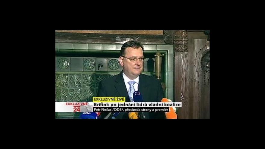 Video Brífink Petra Nečase po jednání K12