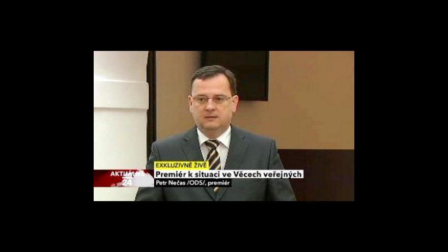 Video Vystoupení premiéra Petra Nečase