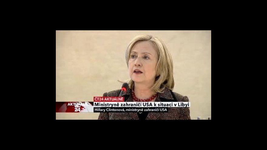 Video Projev Hillary Clintonové k situaci v Libyi