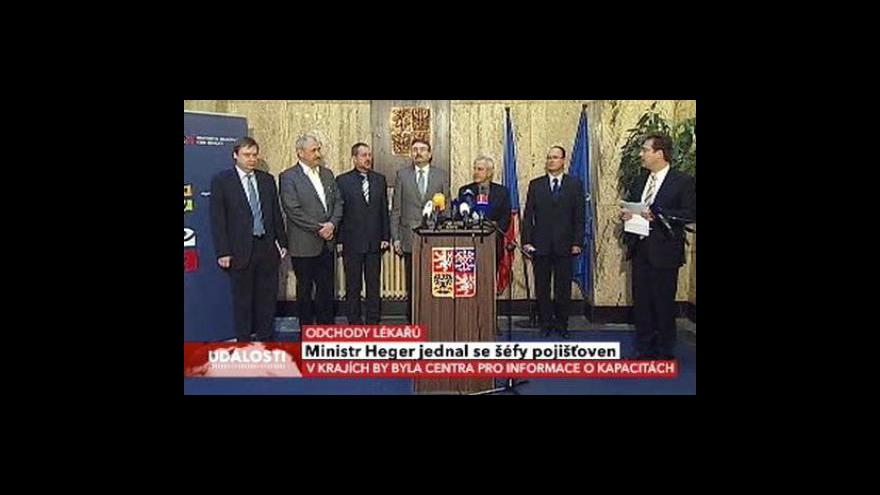 Video Brífink Leoše Hegera po jednání s pojišťovnami