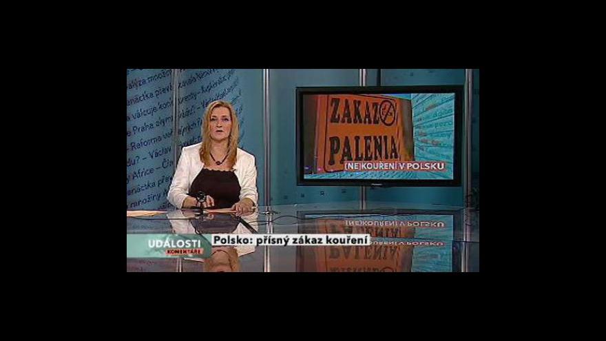 Video Události, komentáře o zákazu kouření v Polsku