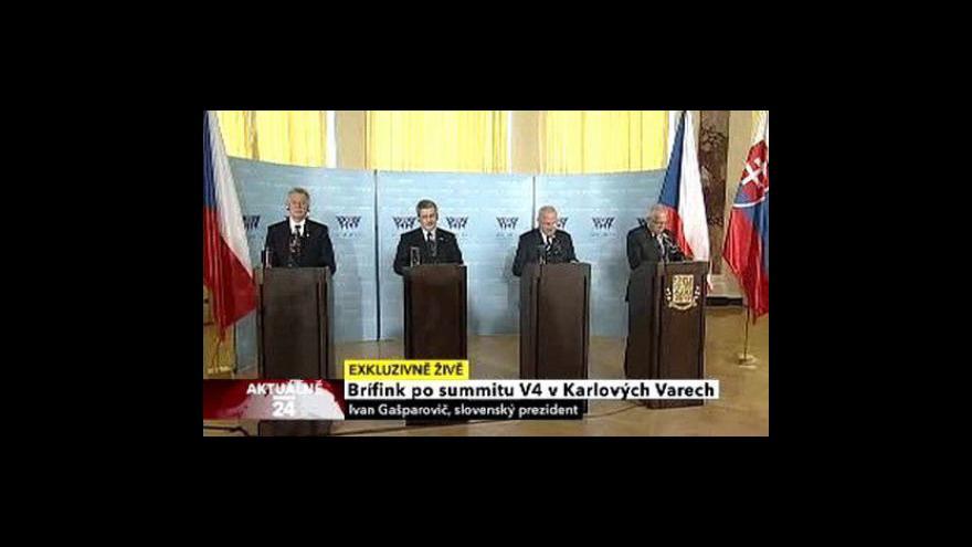Video Brífink po jednání prezidentů V4