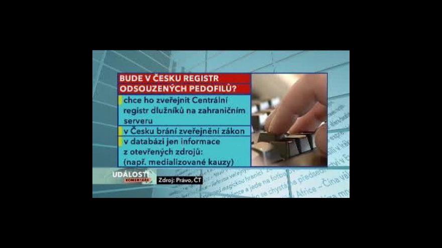 Video Události, komentáře o registru pedofilů