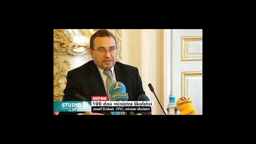 Video Studio ČT24: Sto dní působení ministra školství ve funkci