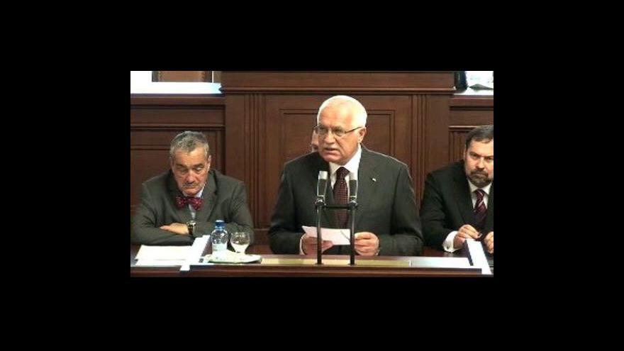 Video Projev Václava Klause ve sněmovně