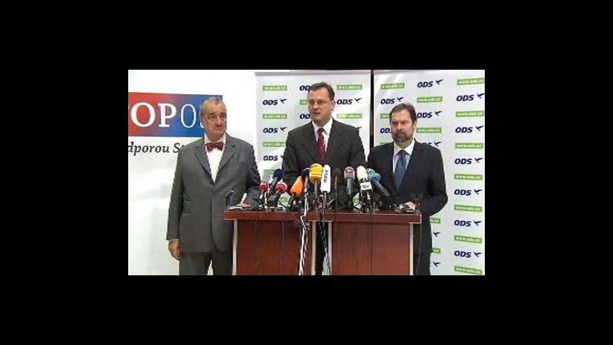 Video Brífink koaličních lídrů o složení vlády