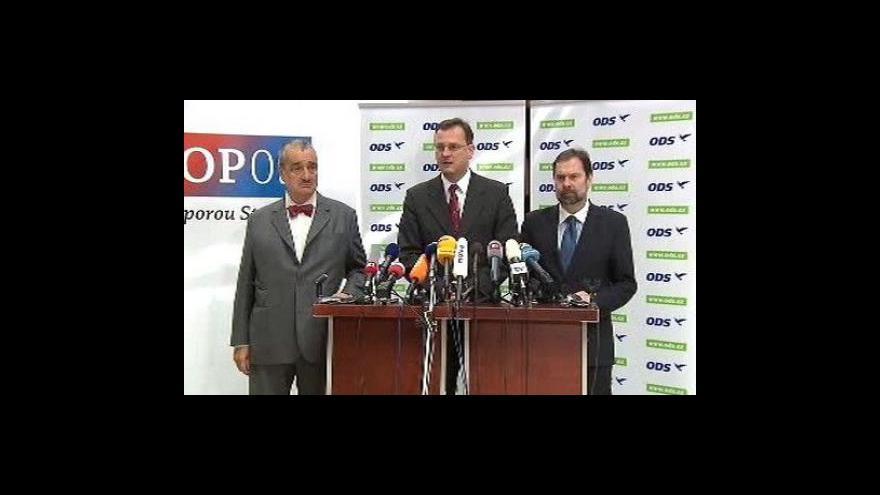 Video Brífink ODS, TOP 09 a VV k zavedení školného