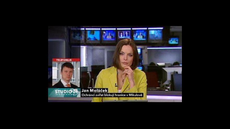 Video Studio ČT24 k blokádě hraničního přechodu v Mikulově