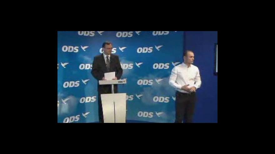 Video Brífink ODS o Vlčkově odstoupení a předvolební kampani
