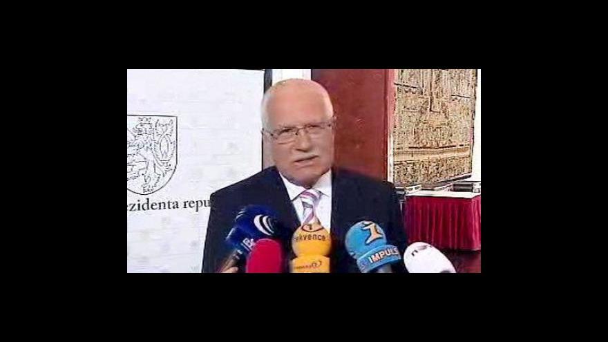 Video Prohlášení prezidenta Václava Klause