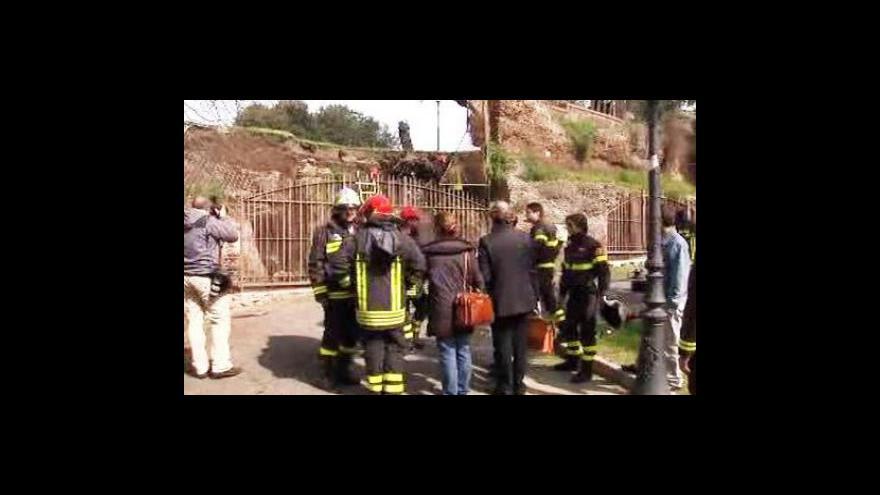 Video Část klenby Neronova zlatého paláce se zřítila