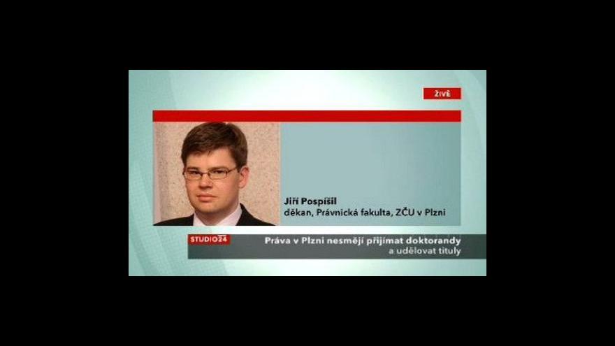 Video Děkan Jiří Pospíšil ve Studiu ČT24