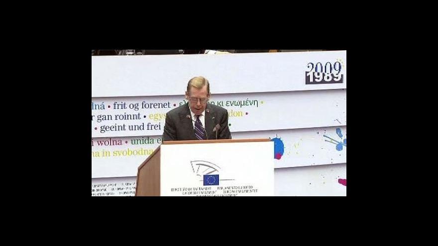 Video Projev Václava Havla a Jerzyho Buzka