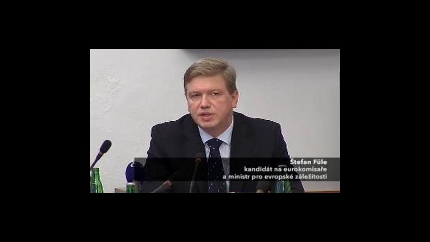 Video Štefan Füle se představil členům evropského výboru
