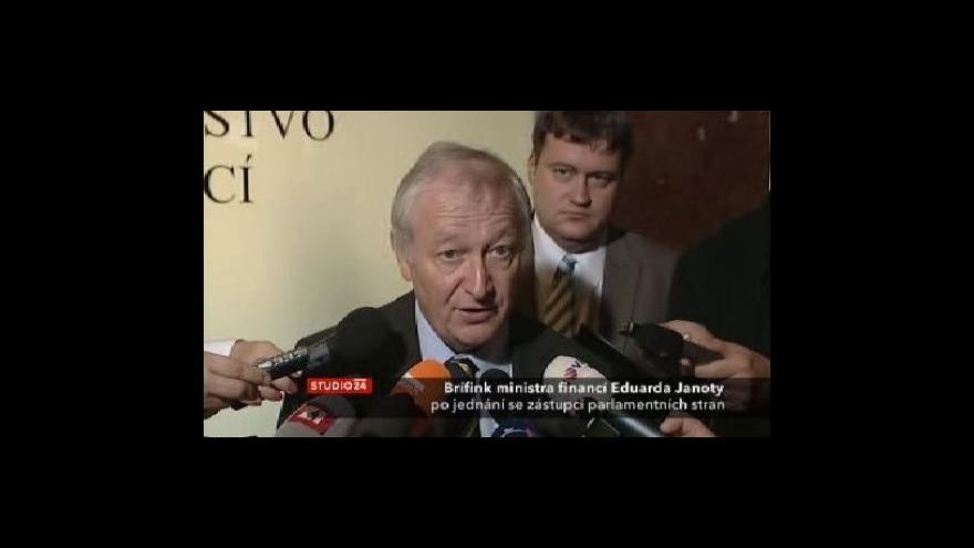 Video Brífink Eduarda Janoty po jednání se zástupci parlamentních stran