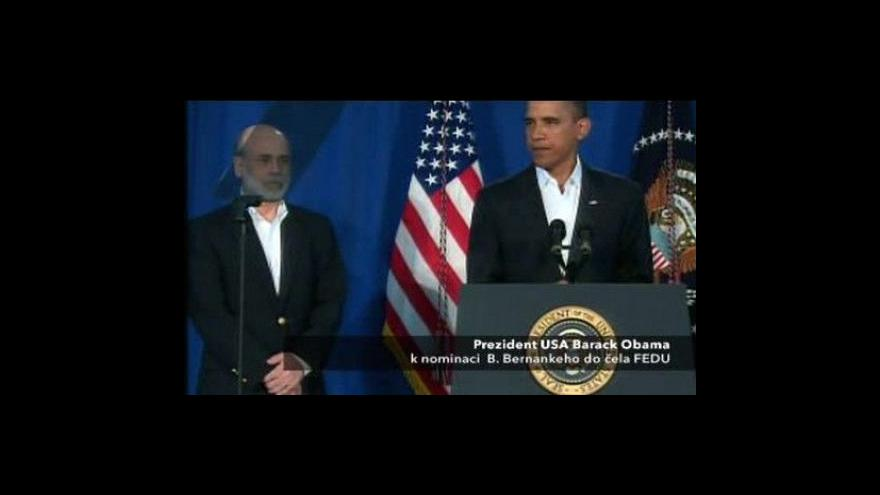 Video Projev Baracka Obamy a Bena Bernankeho