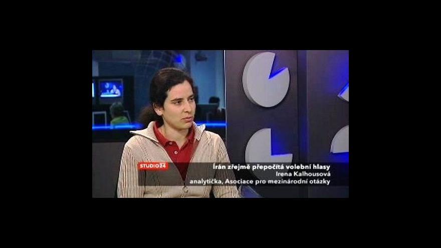 Video Irena Kalhousová k situaci v Íránu