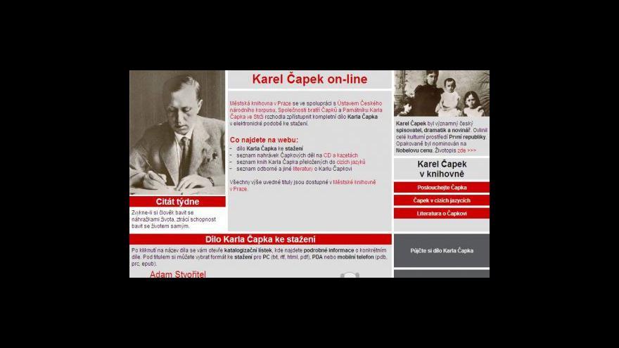 Video Karel Čapek on-line v Městské knihovně v Praze