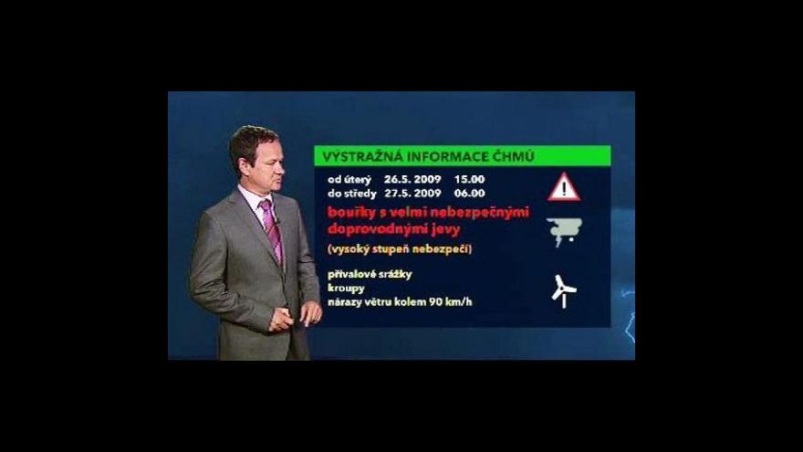 Video Předpověd počasí s varovnáním o bouřkách