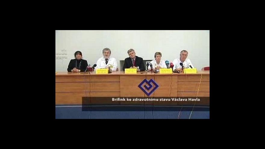 Video Brífink k aktuálnímu zdravotnímu stavu Václava Havla