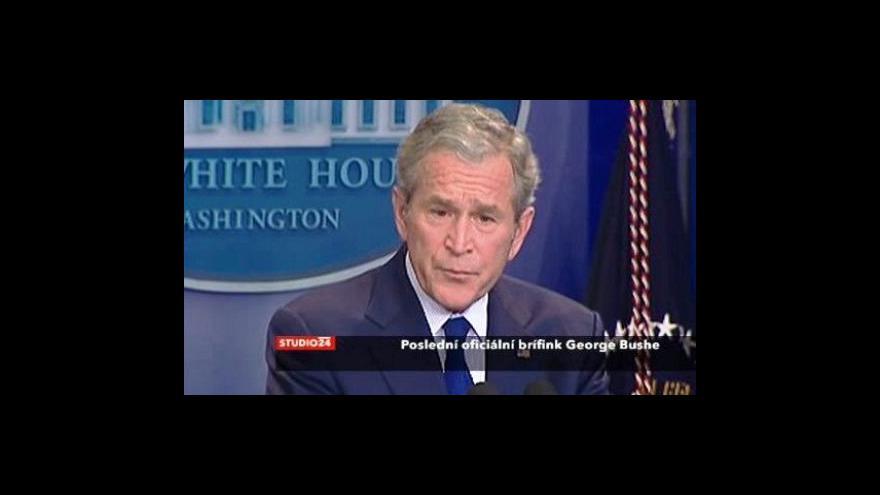 Video Poslední oficiální brífink prezidenta Bushe