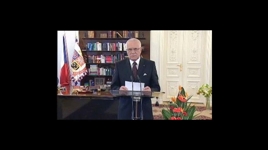 Video Projev prezidenta Václava Klause