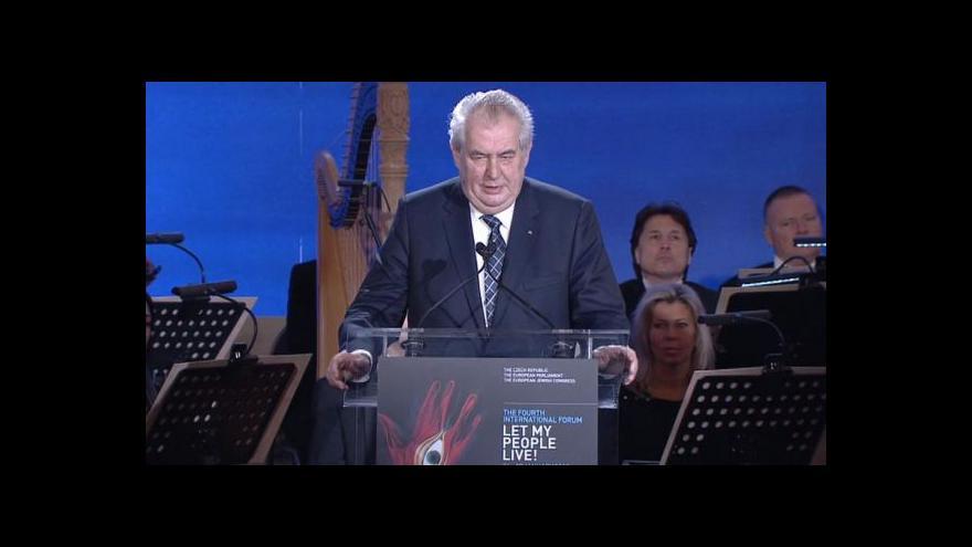 Video Projev prezidenta Miloše Zemana k 70. výročí osvobození Osvětimi
