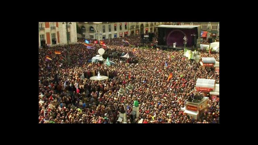 Video Ulice Madridu zaplnili příznivci strany Podemos