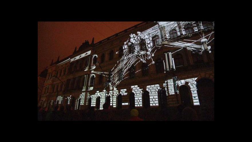 Video Vizuální show na budově Akademie věd