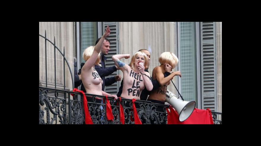 Video Le Penová a Hitler jedno jest, protestovaly členky Femen